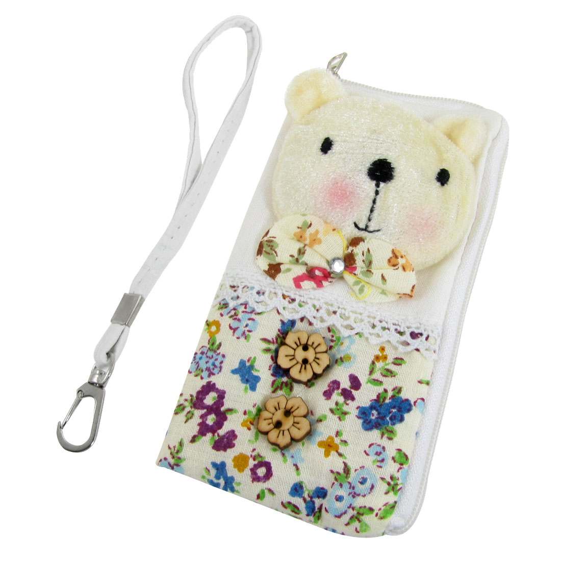 Colorful Flower Pattern L Shape Zip Up Pouch Bag for iPhone 4 4G 4S