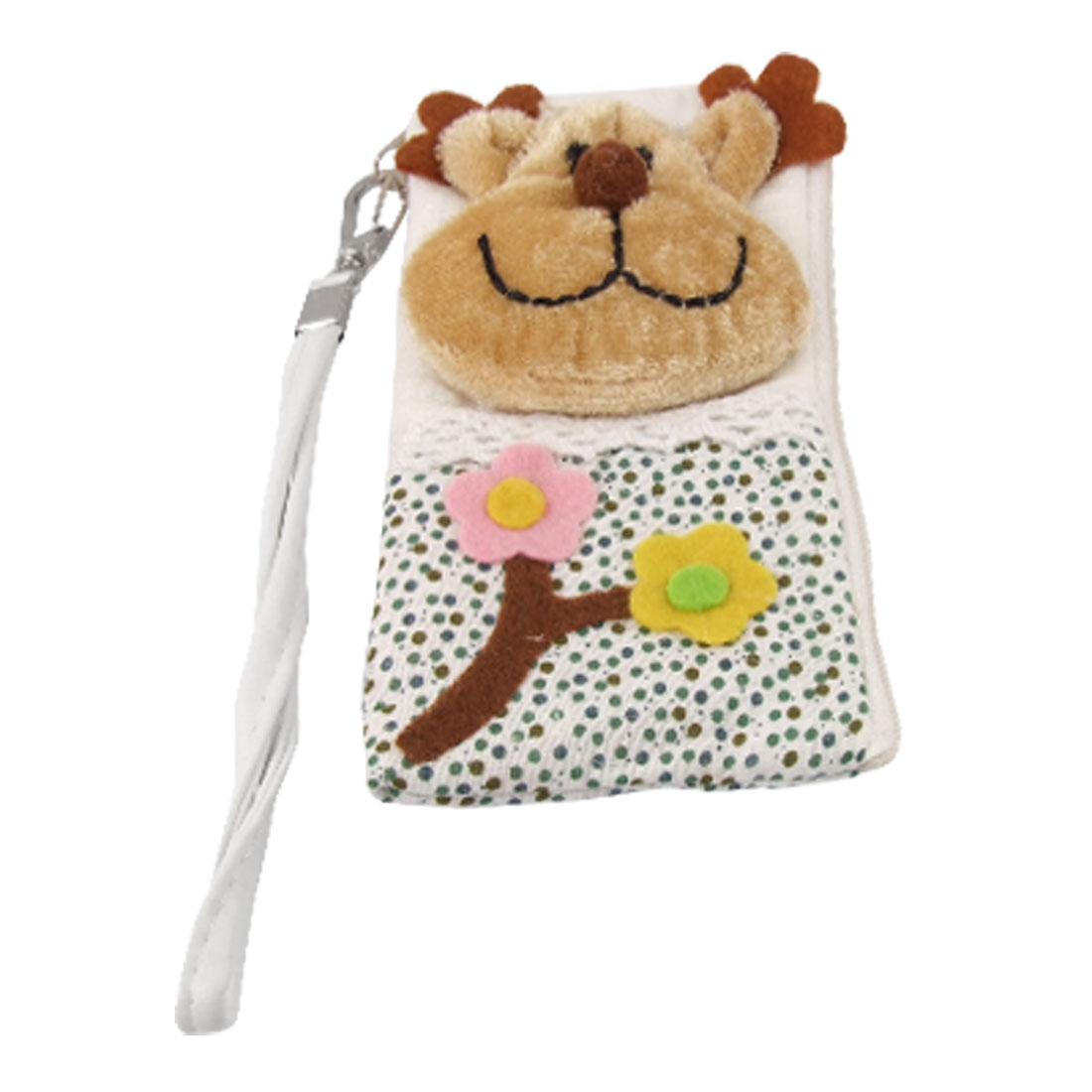 Bear Head Accent L Shape Zip Pouch Bag Holder w Strap for iPhone 4 4G 4S