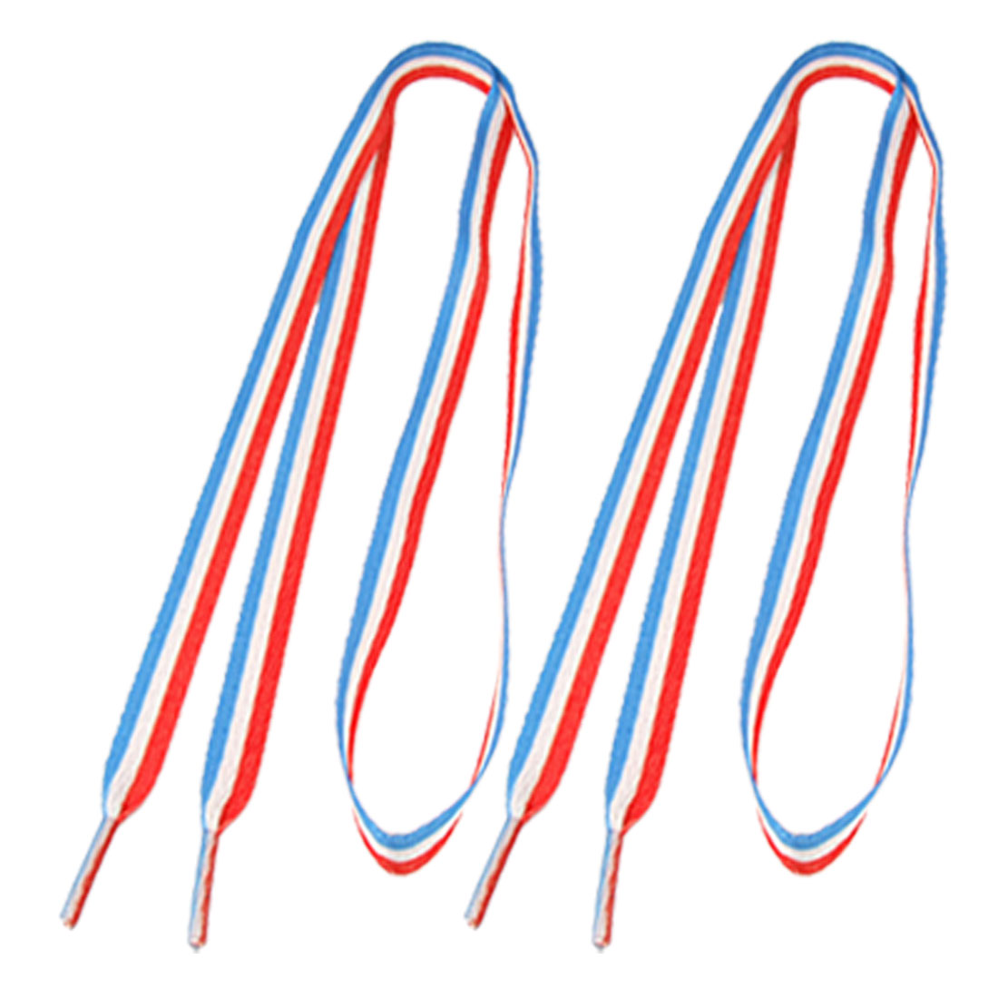 "45.3"" Length Red White Blue Striped Plastic Tip Flat Shoelace String Pair"