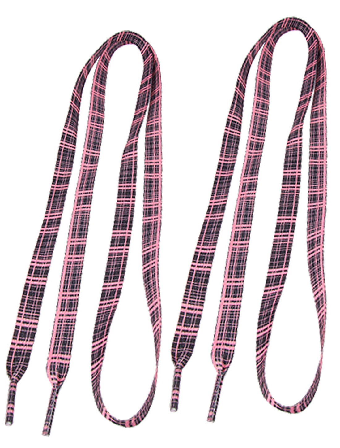 "45"" Long Pink Plaids Pattern Black Flat Shoelace String Pair"