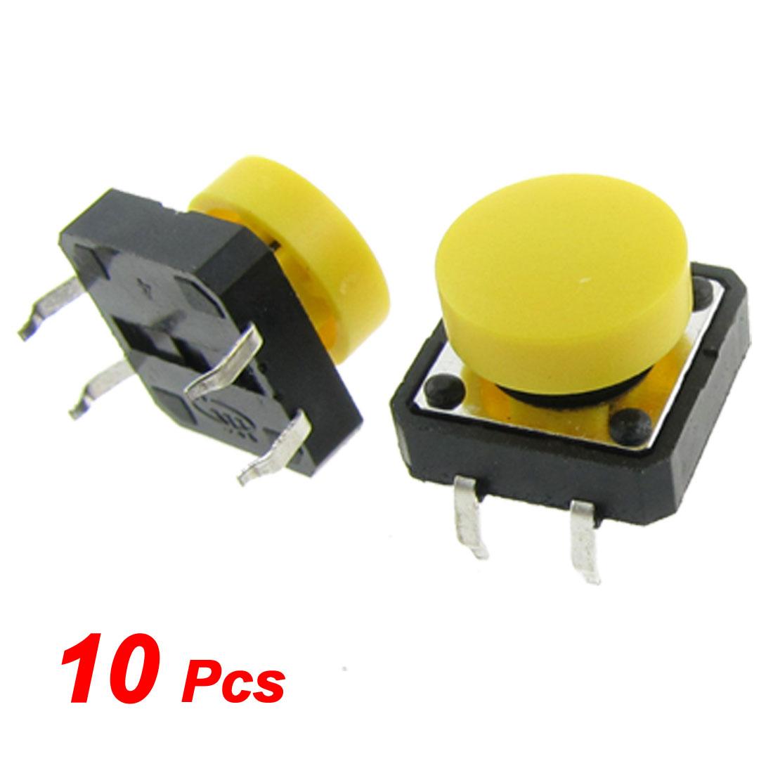 10pcs Momentary Tact Tactile Push Button Switch 12 x 12mm x 8mm 4 Pin DIP + Cap