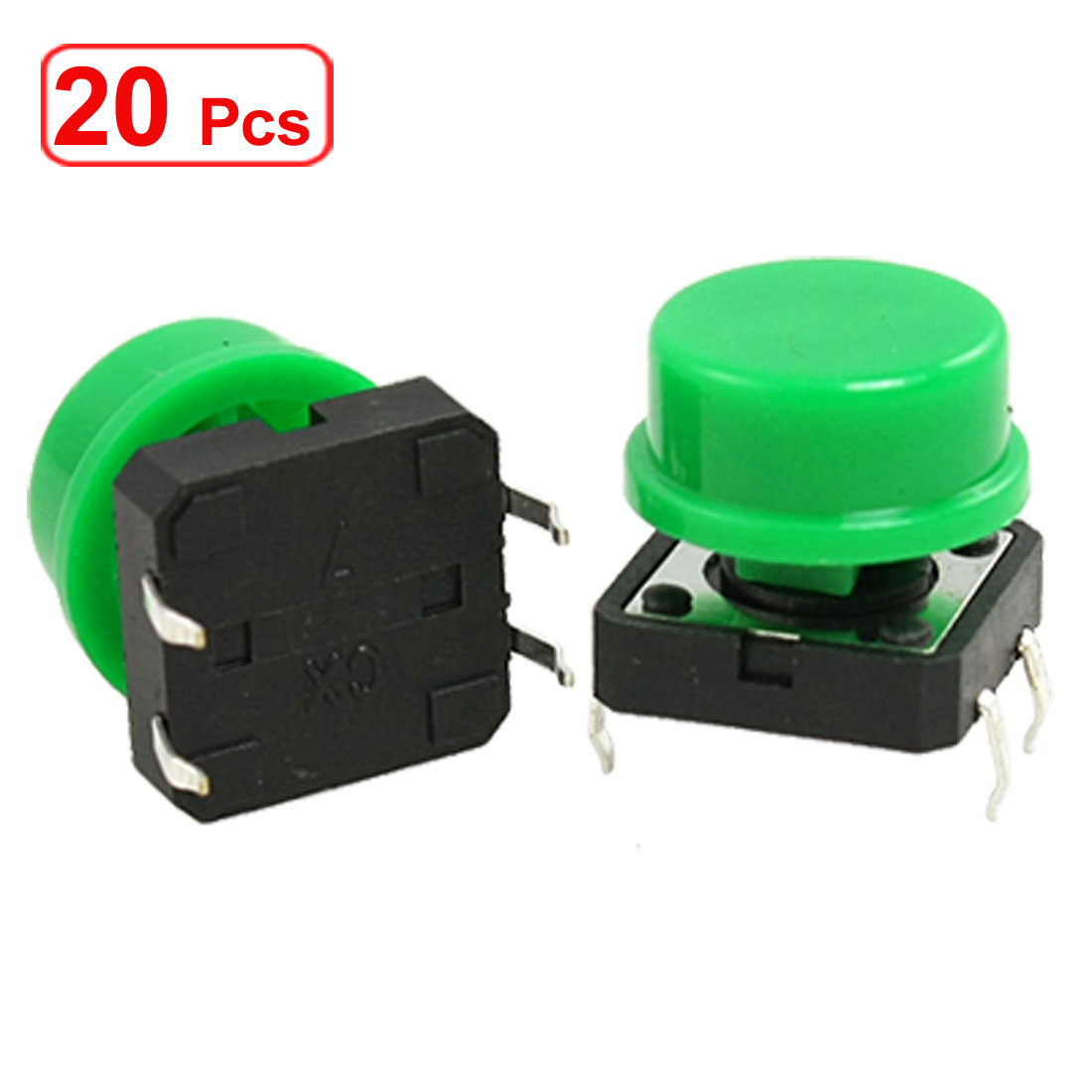20 Pcs Momentary Tact Push Button Switch 12 x 12 x 12mm 4 Pin 4P DIP w Round Cap