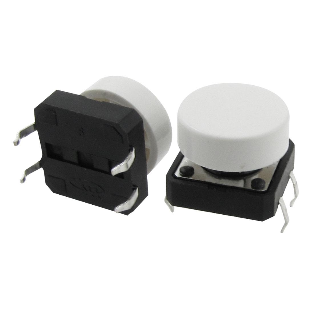 10pcs Momentary Tact Tactile Push Button Switch 12 x 12mm x 10mm 4 Pin DIP + Cap