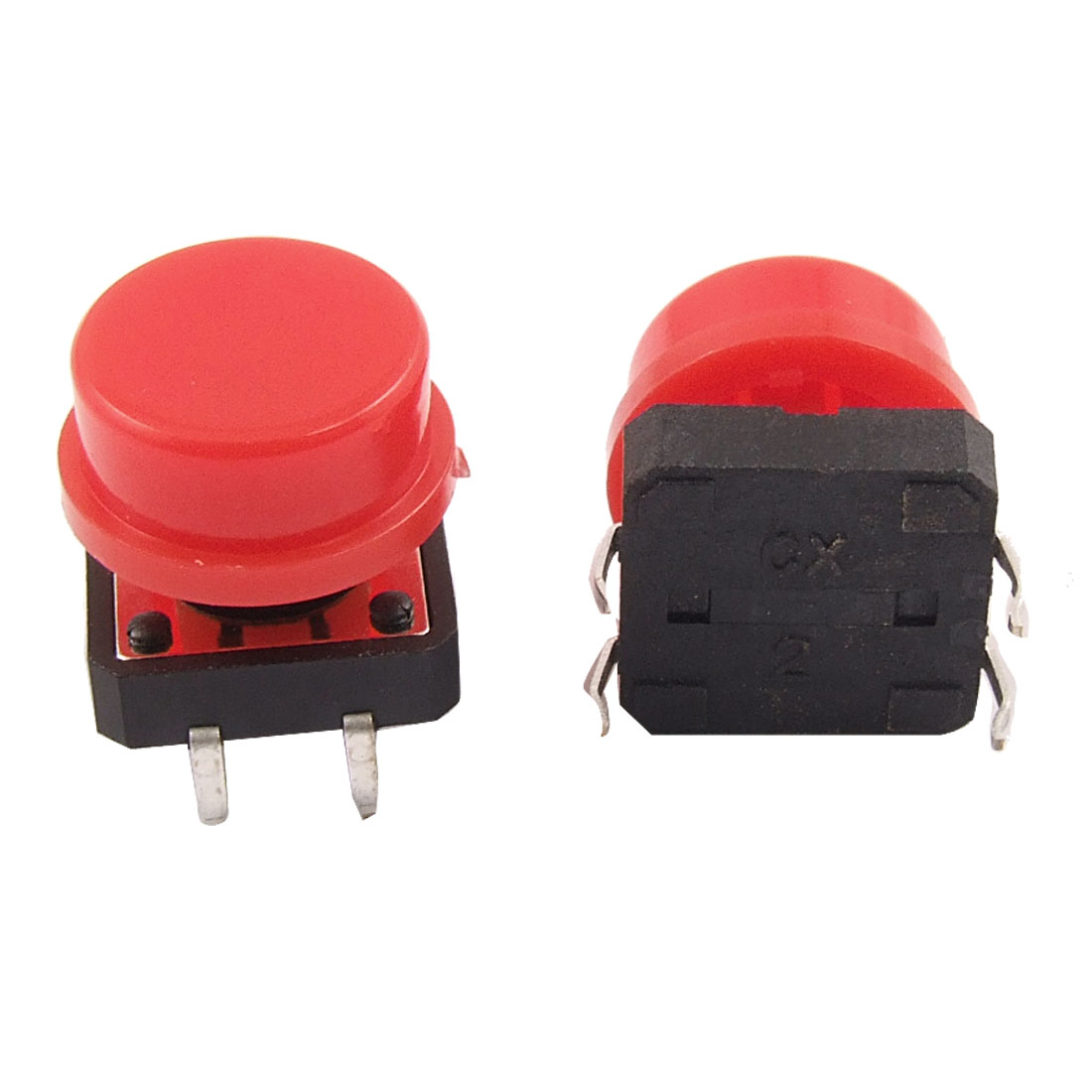 10 Pcs Red Cap Momentary Tact Tactile Bush Button Switch 4 Pin 12 x 12mm x 11mm