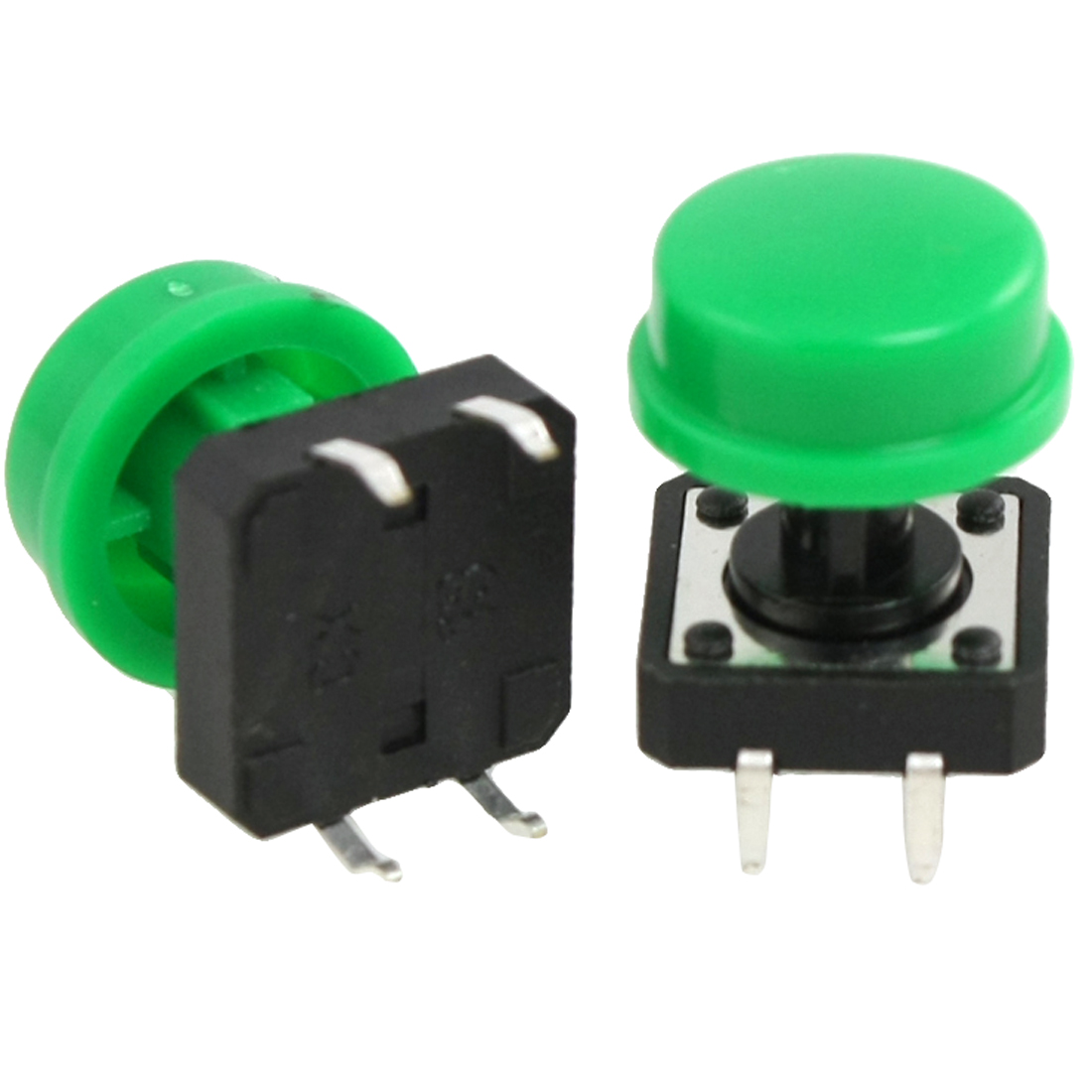 10 PCS 12 x 12mm x 12mm Green Round Cap Momentary Tact Tactile Push Button Switch 4 Pin