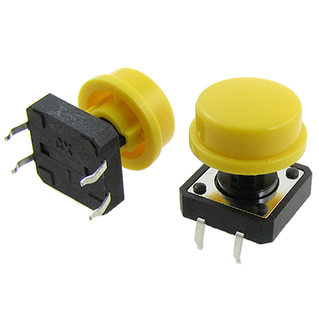 10 Pcs 12 x 12mm x 15mm Momentary Push Button Tactile Tact Switch w Yellow Round Cap