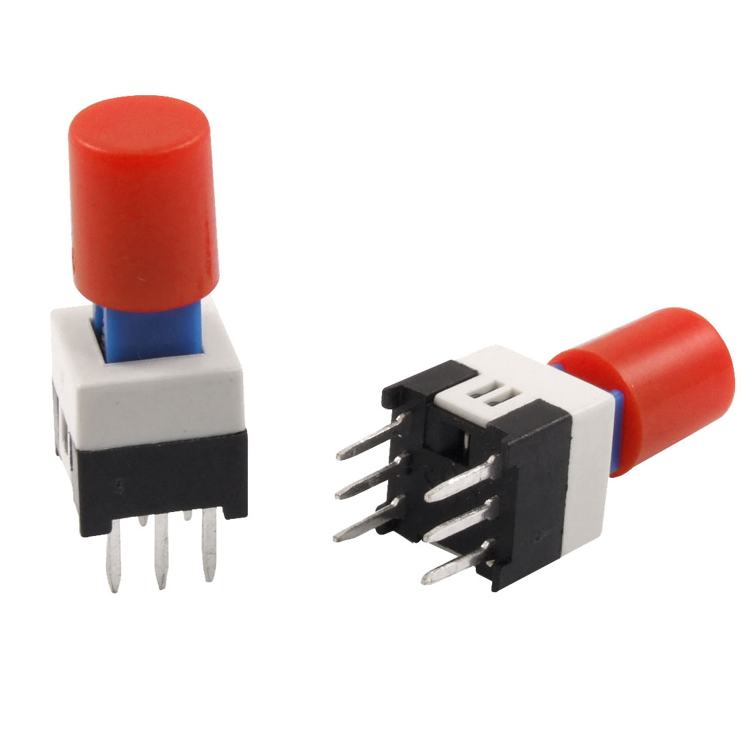 10 Pcs Red Cap 7 x 7mm x 16mm Latching Tactile Tact Push Button Switch 6 Pin DIP