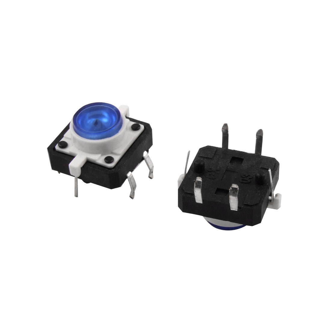 2 Pcs 12mm x 12mm Blue LED Push Button Momentary Tact Tactile Switch