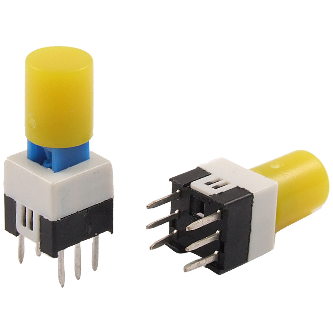 10 Pcs Yellow Round Cap Self Lock Tact Tactile Push Button Switch 7 x 7mm x 16mm
