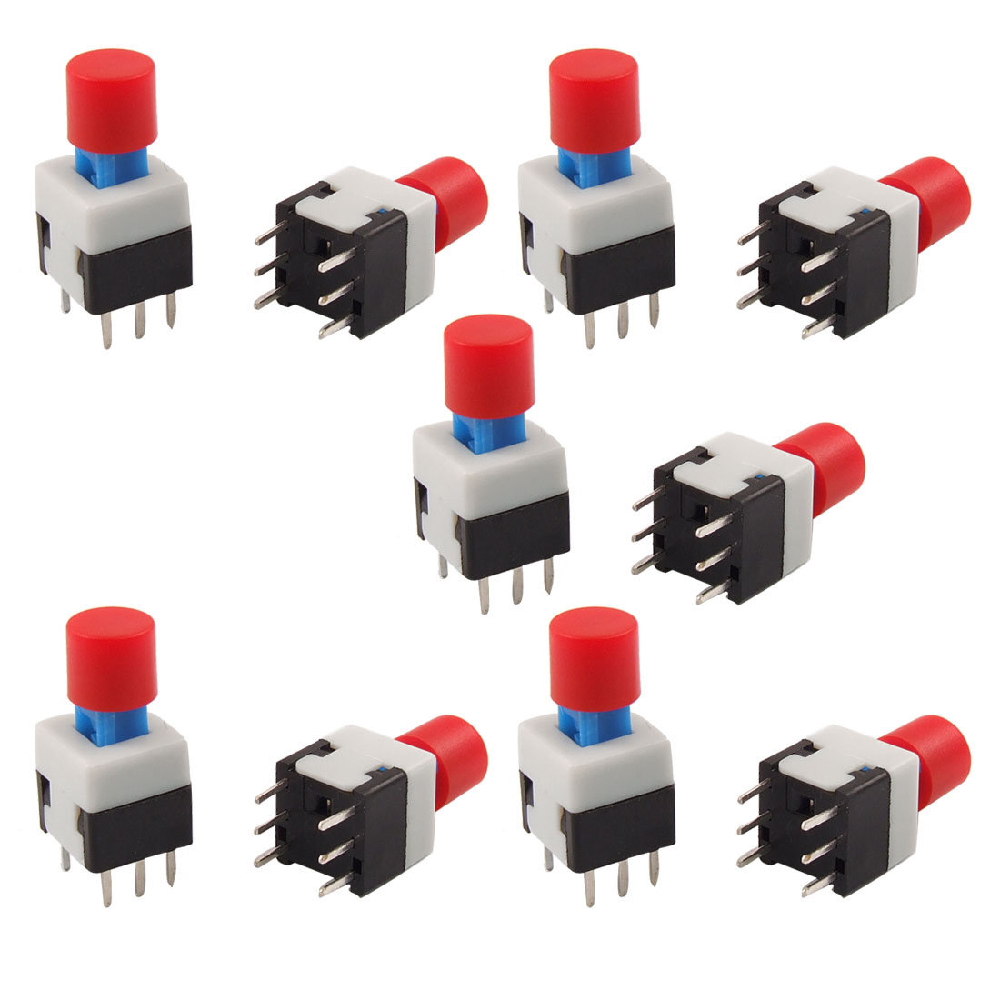 10 Pcs 8 x 8mm Red Round Cap Self Lock Push Button Tact Tactile Switch 6 Pin PCB
