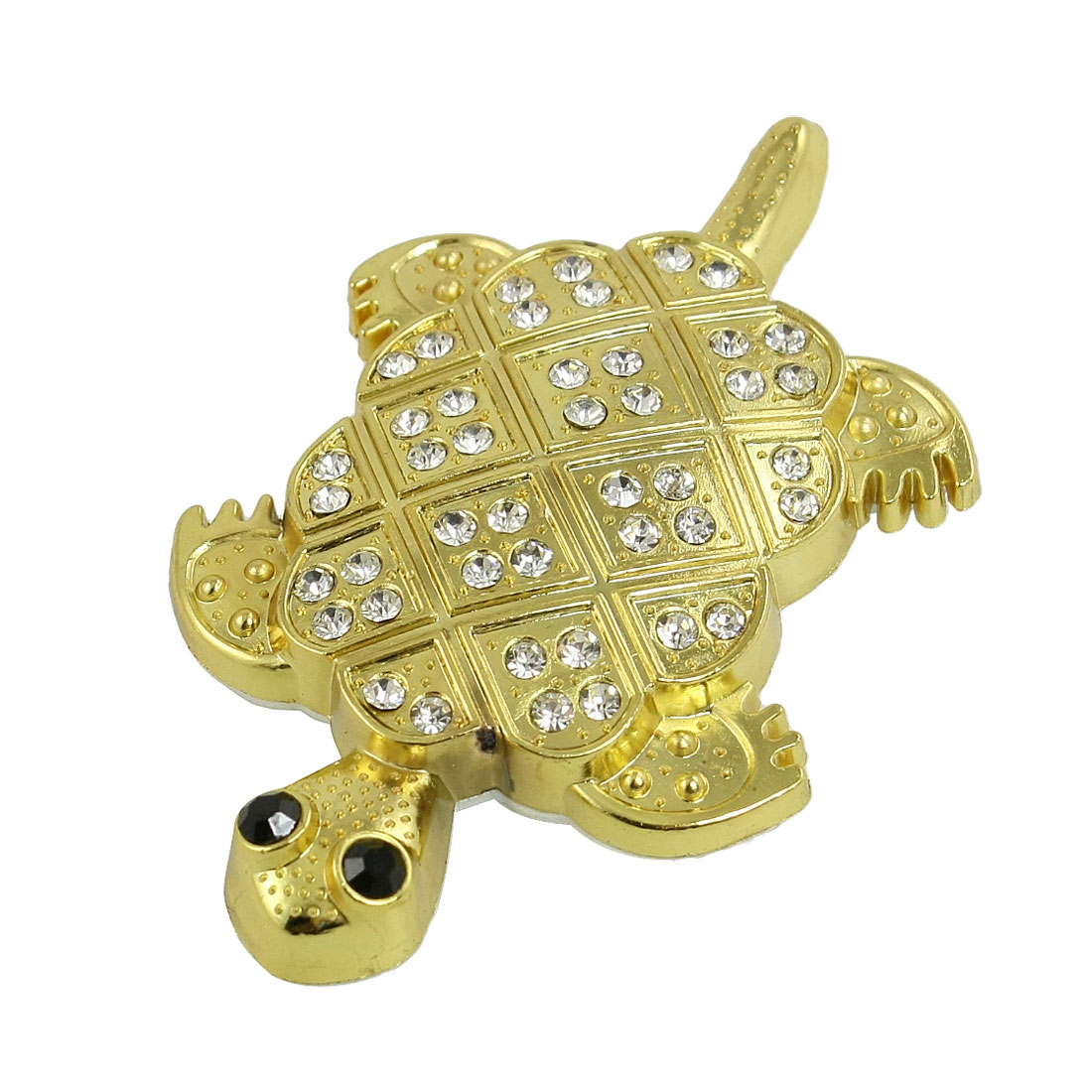 Rhinestone Inlaid Gold Tone 3D Tortoise Sticker Decal for Car