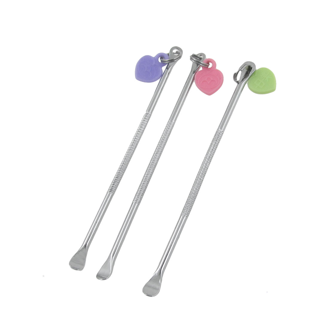 Metal Heart Decor Ear Care Wax Remover Cleaner Tool Pick Silver Tone 6 Pcs