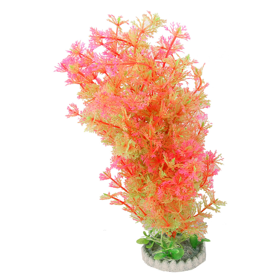 "Fish Tank Aquarium Decor Round Base Plastic Grass Ornament 10.2"" Height"