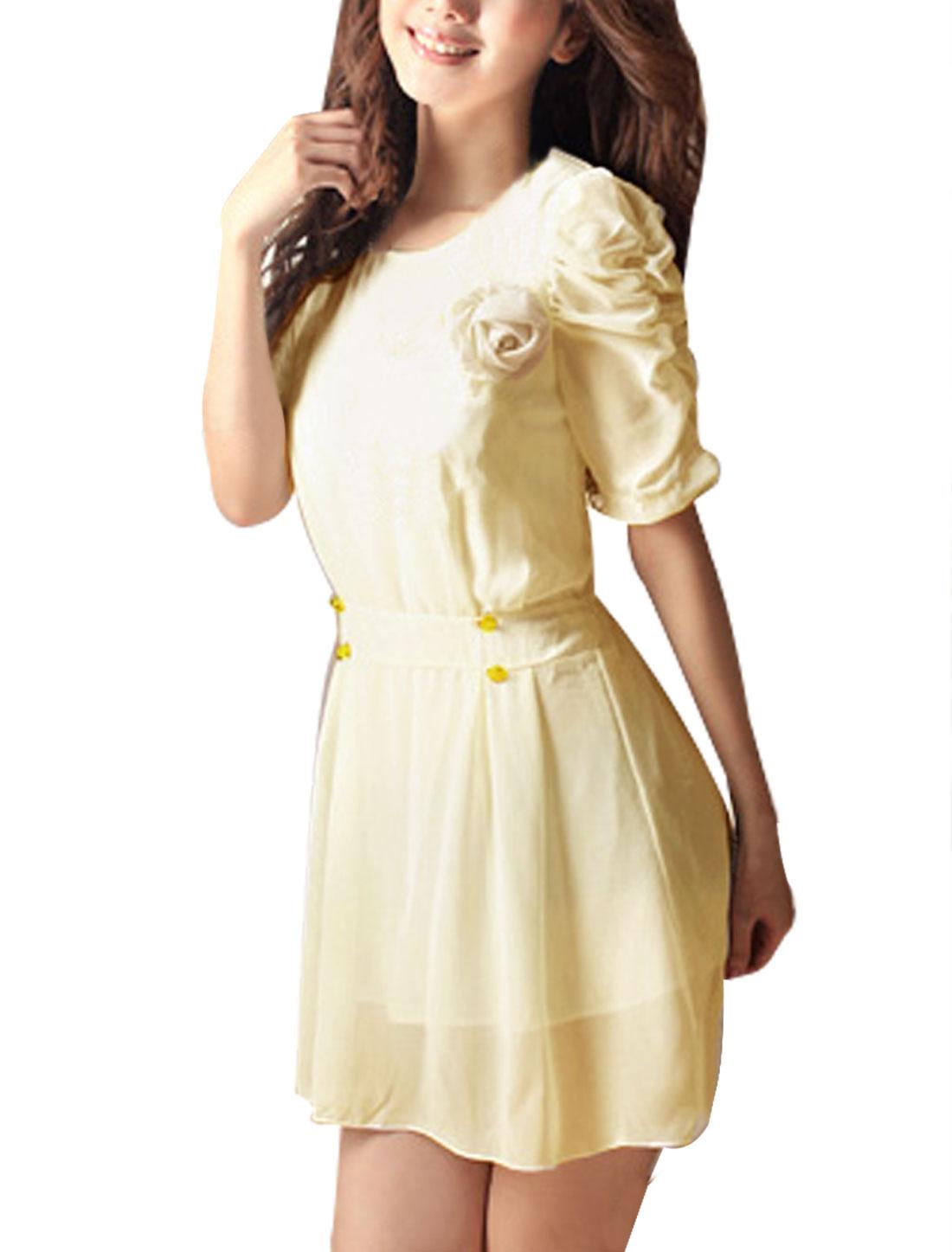 Scoop Neck Short Sleeve Beige Chiffon Mini Dress XS w Brooch for Women