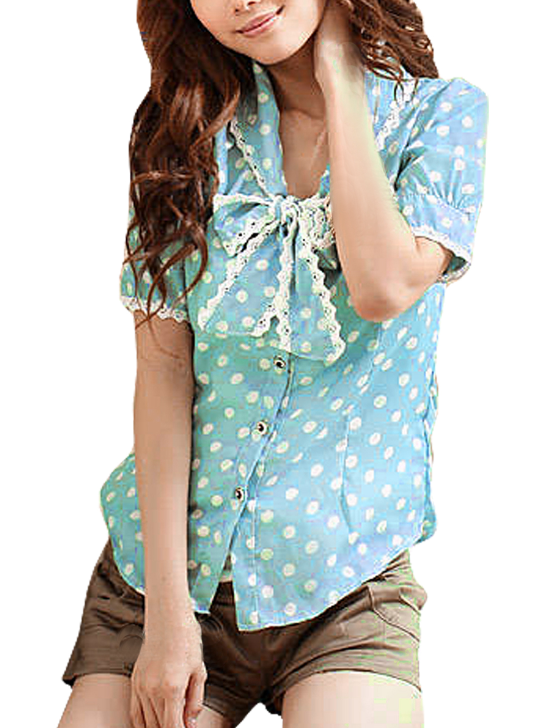 Self Tie Knot Accent Collar Dots Print Baby Blue Blouse XS for Women
