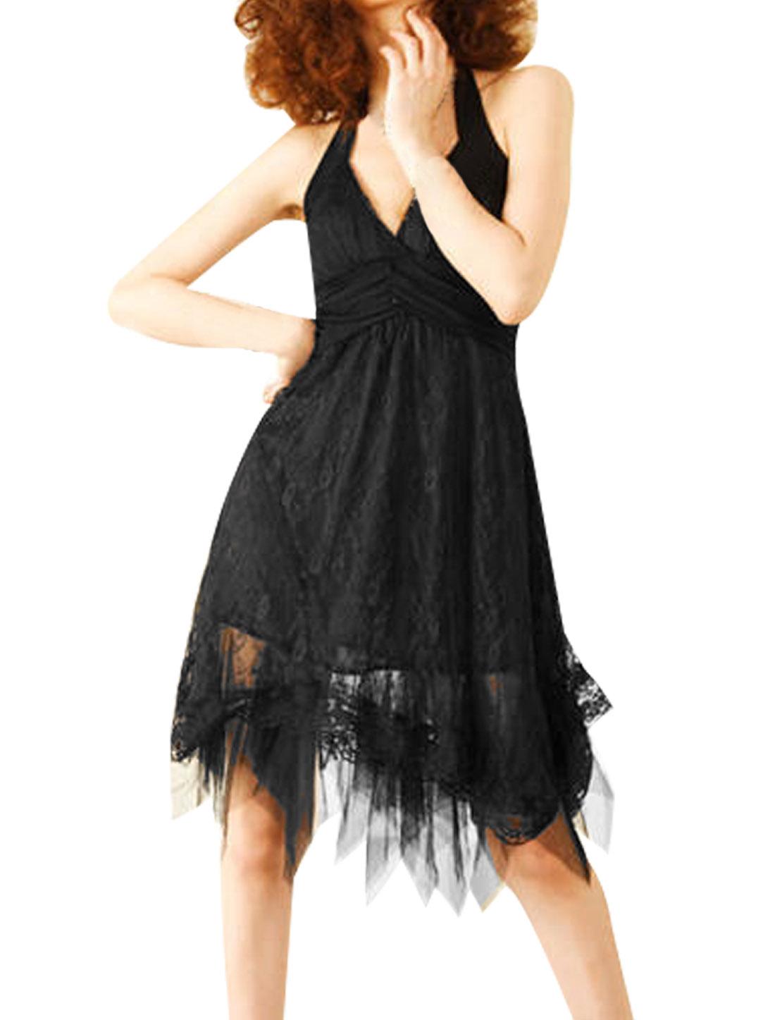 Women Self Tie Halter Neck Bare Back Sleeveless Black Scarf Hem Dress XS