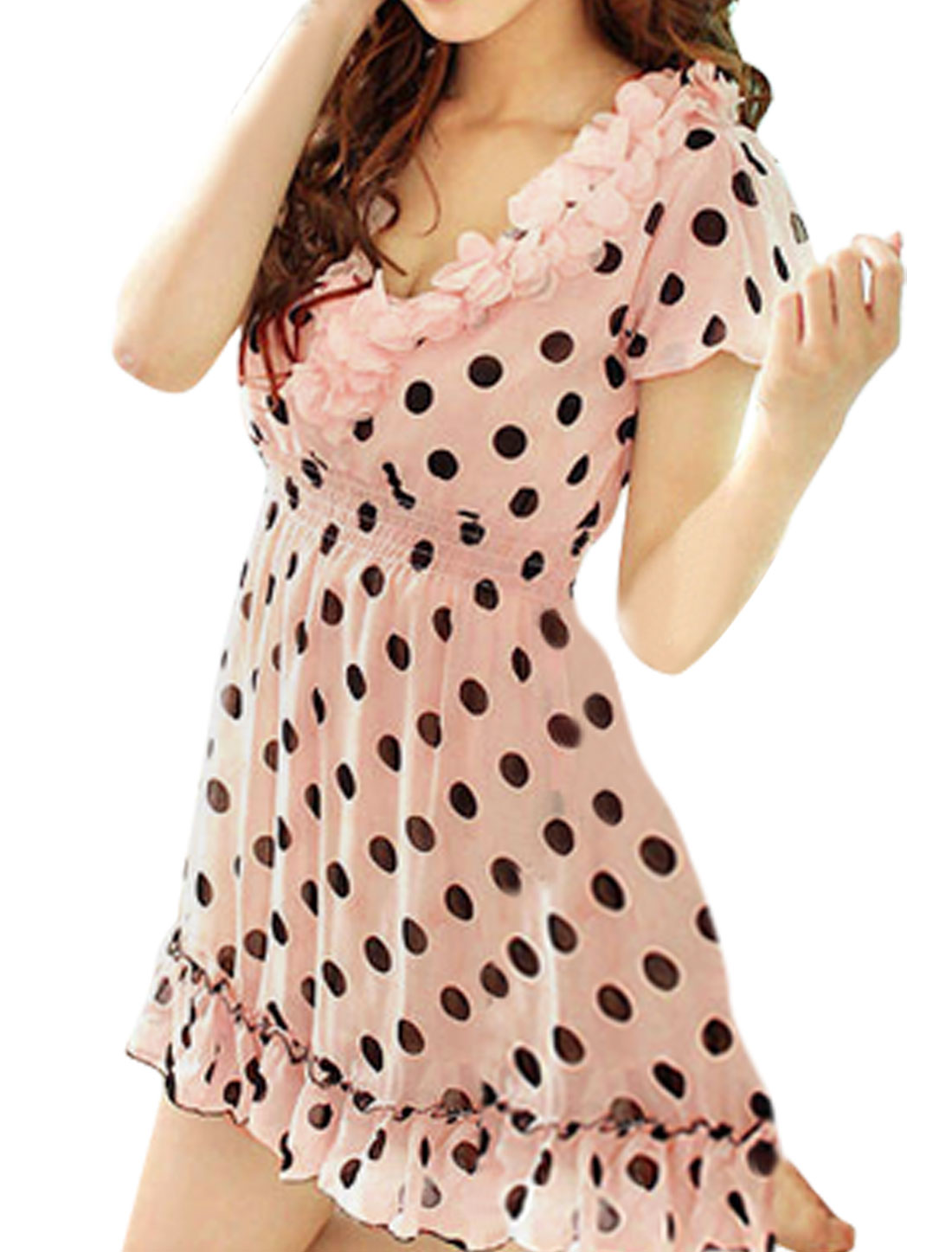 Scalloped Hem Flower V Neck Dots Print Pink Chiffon Mini Dress XS for Women
