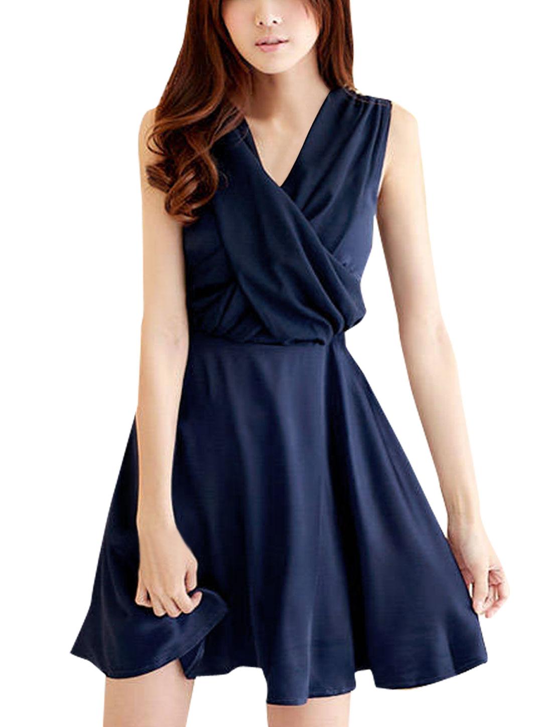 Dark Blue Cross V Neck Sleeveless Smocked Back Mini Dress XS for Lady