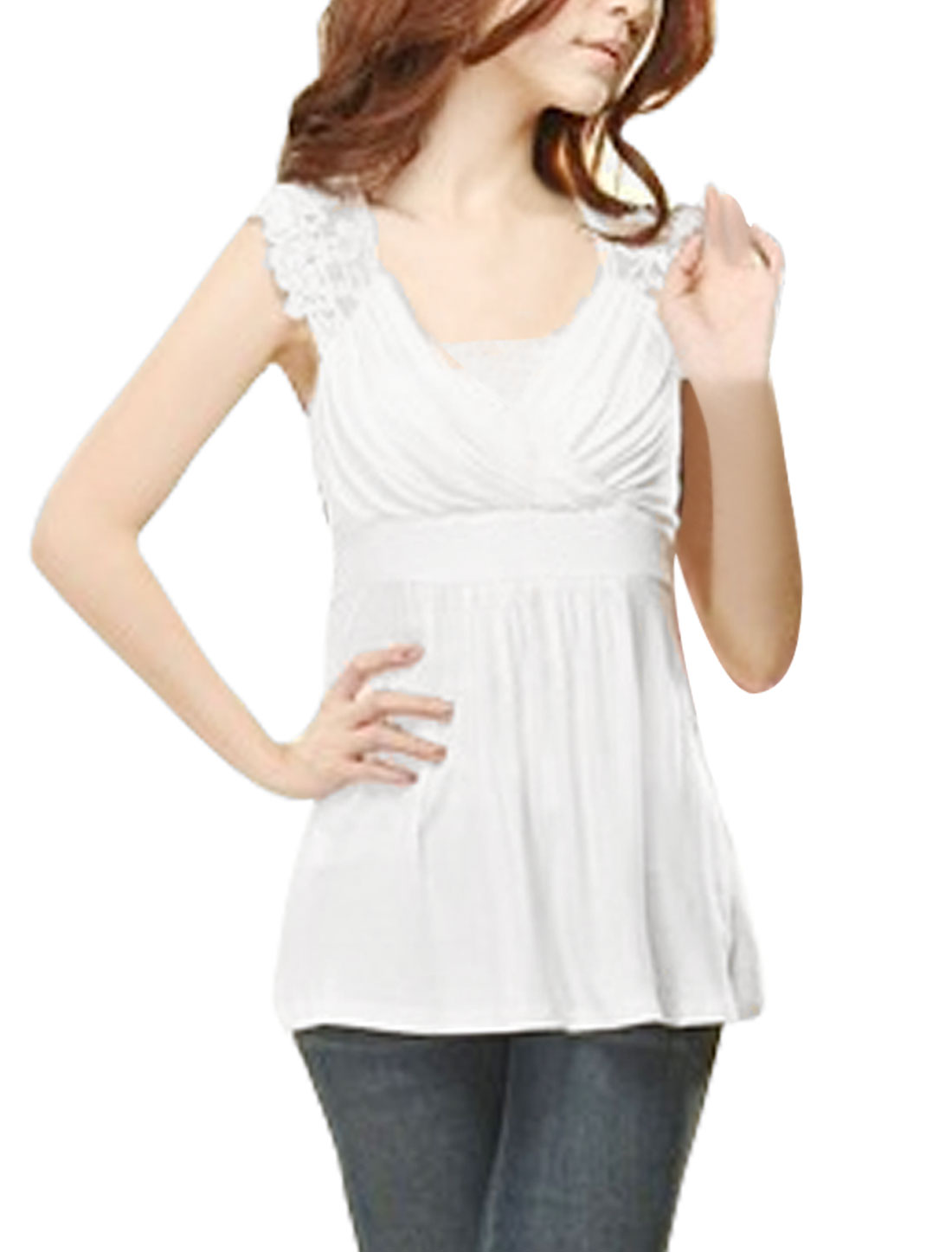 Women White Cross V Neck Sleeveless Sheer Back Lace Shoulder Shirt XS