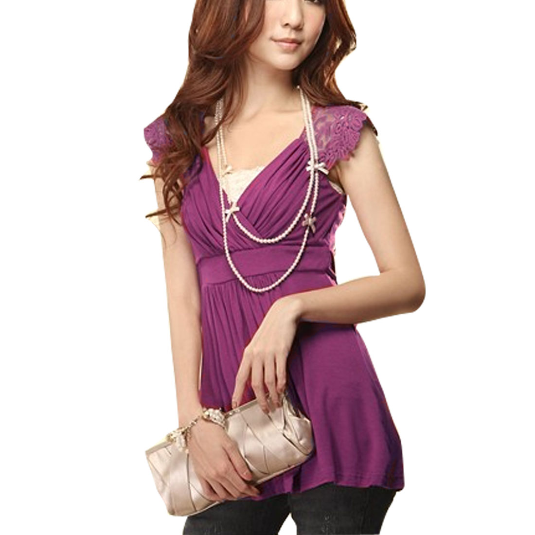 Pleated Cross V Neck Lace Shoulder Sheer Back Purple Shirt XS for Women