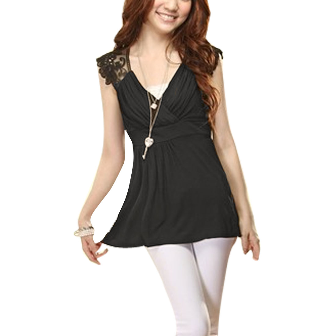 Black Cross V Neck Sleeveless Pullover Stretchy Shirt XS for Women