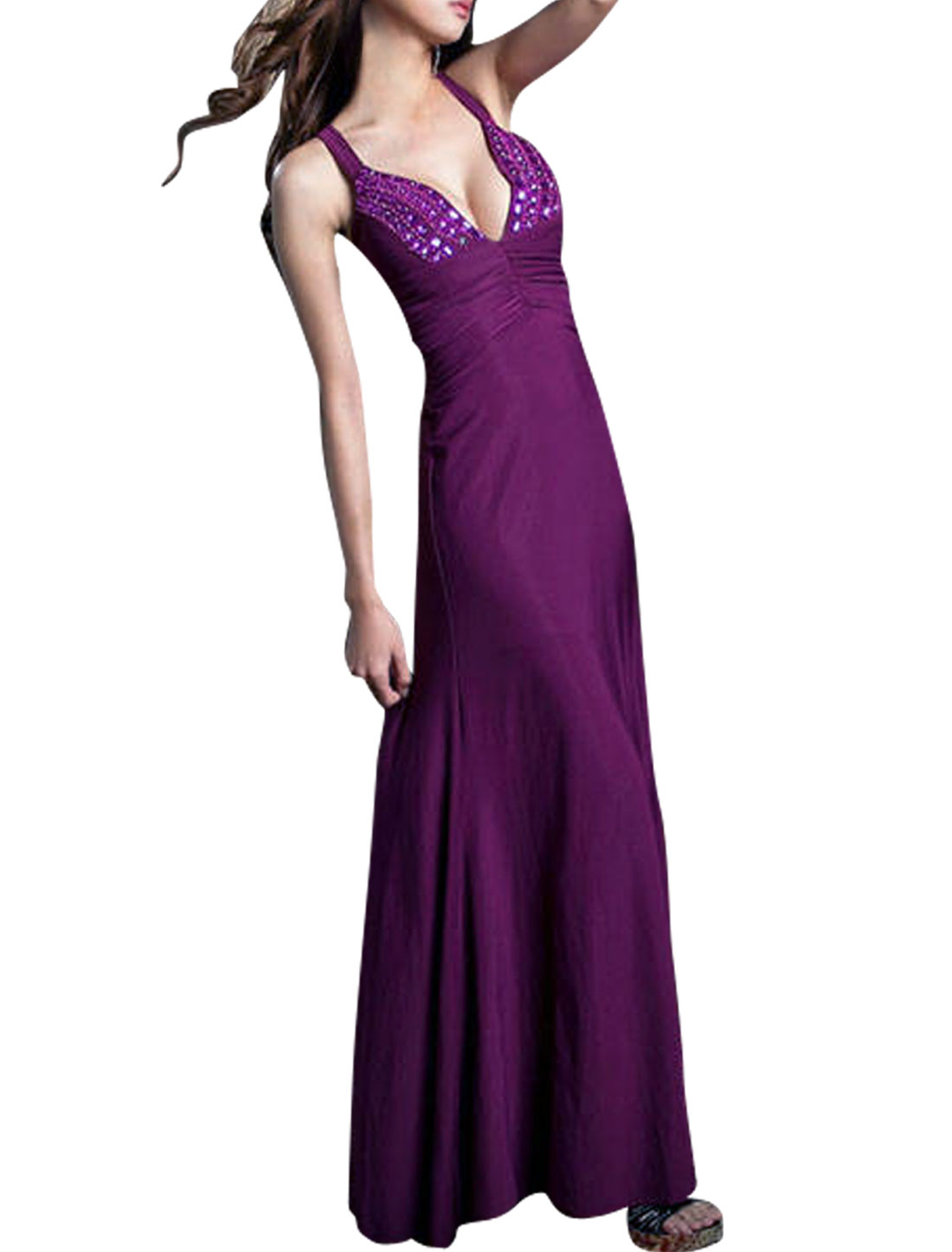 Women Beads Decor Deep V Neck Cut Out Back Maxi Dress Purple S