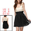 Ladies Scoop Neck Sleeveless Sequin Decor Mini Tank Dress Beige Black XS