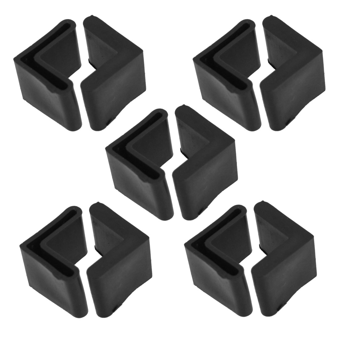 "10 Pcs L Shaped 0.94"" x 0.94"" Angle Iron Foot Pads Black Rubber Covers"