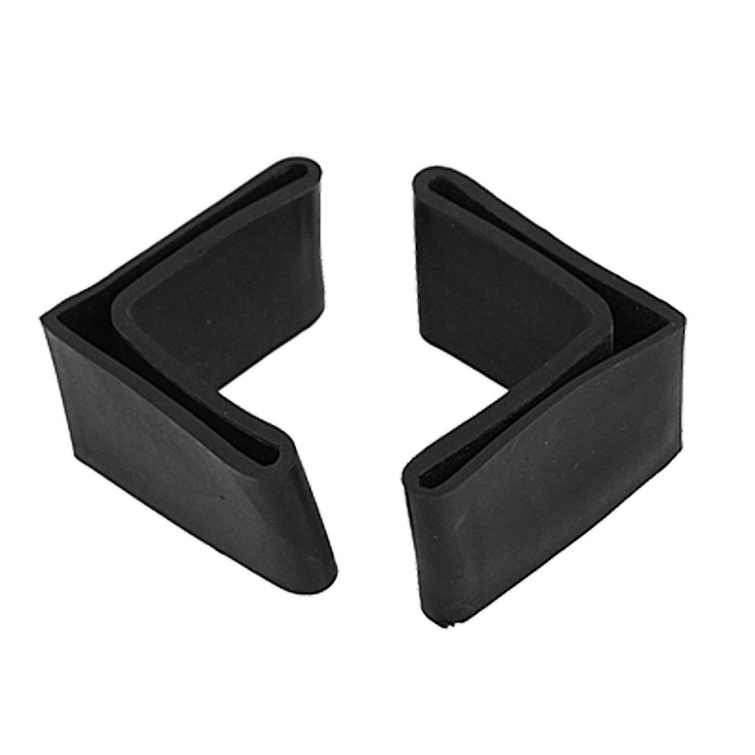 10 Pcs 48mm x 48mm L Shaped Furniture Angle Iron Black Rubber Foot Covers