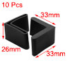 10 Pcs Furniture Angle Iron Legs 29mm x 29mm Black Rubber Foot Covers