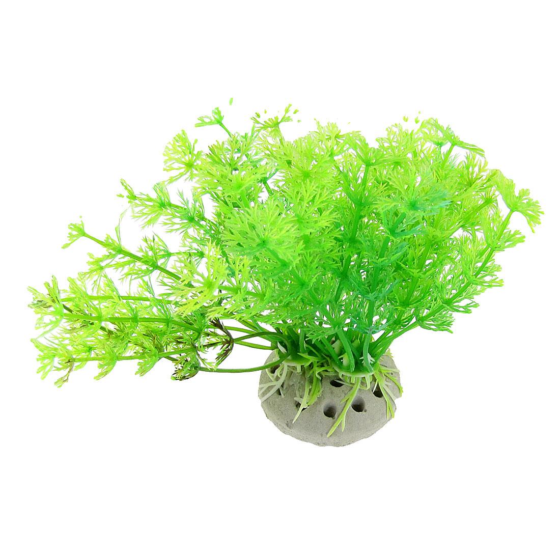 """Aquarium Ceramic Base Green 4.3"""" Plastic Simulated Round Leaves Plant"""