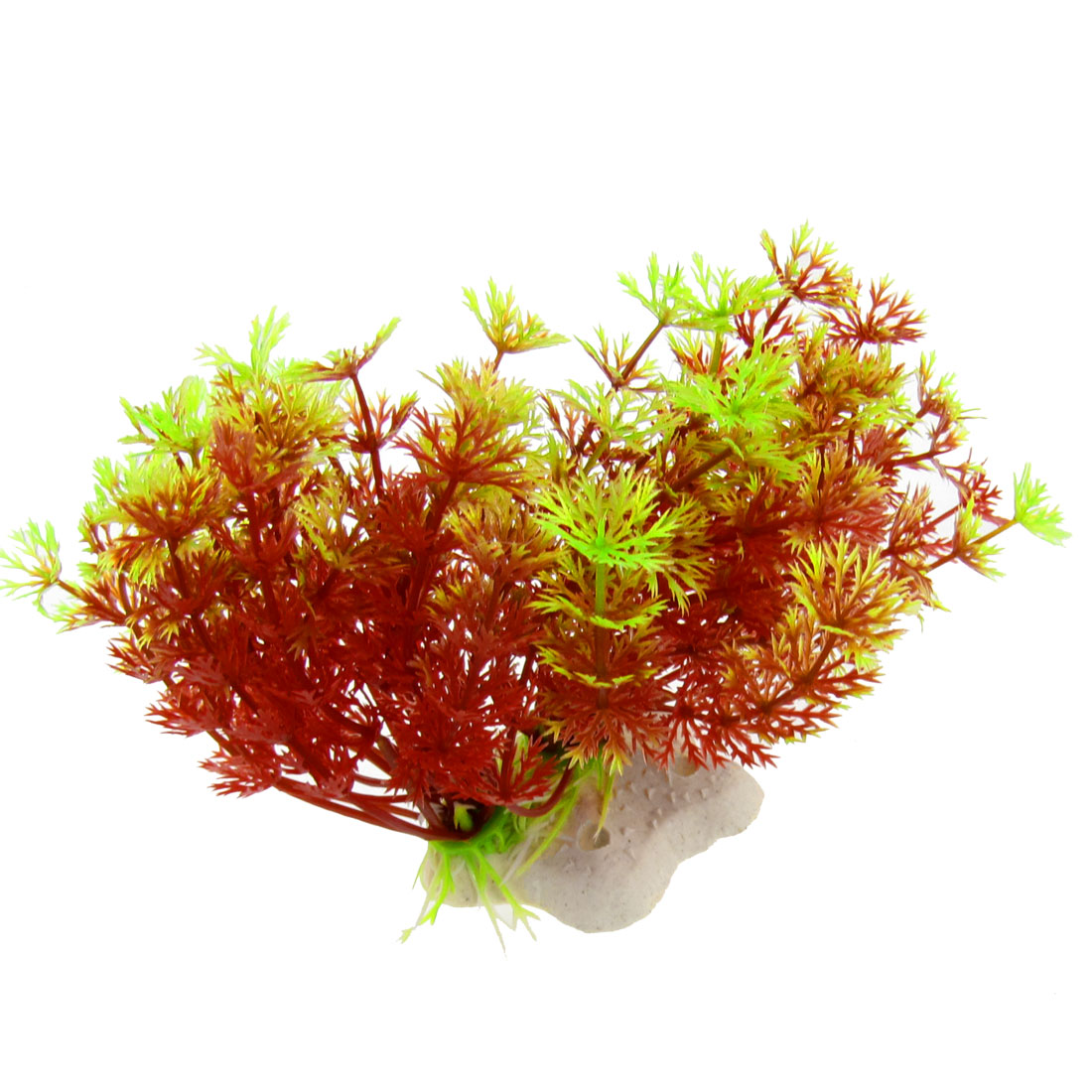 "Aquarium Fish Tank Red Green Plastic Plant Ornament 4.3"" w Five Pointed Star Base"