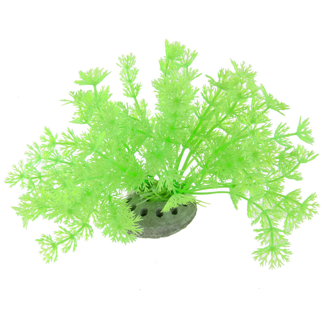 "Fish Tank 4.3"" High Plastic Round Leaves Green Plant w Ceramic Base"