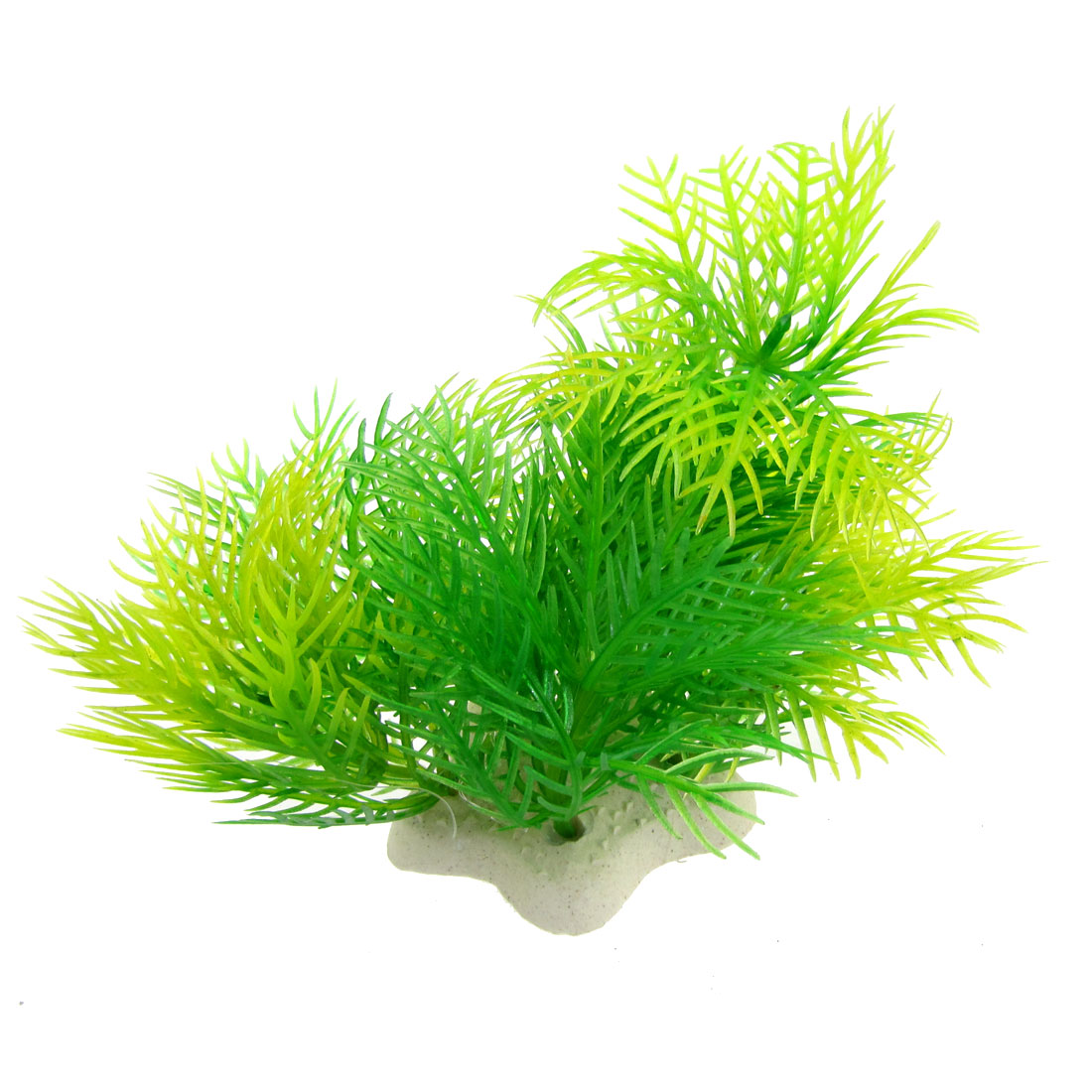 "Aquarium Fish Tank Yellow Green Leaves 3.5"" High Simulated Plastic Plant Decor"