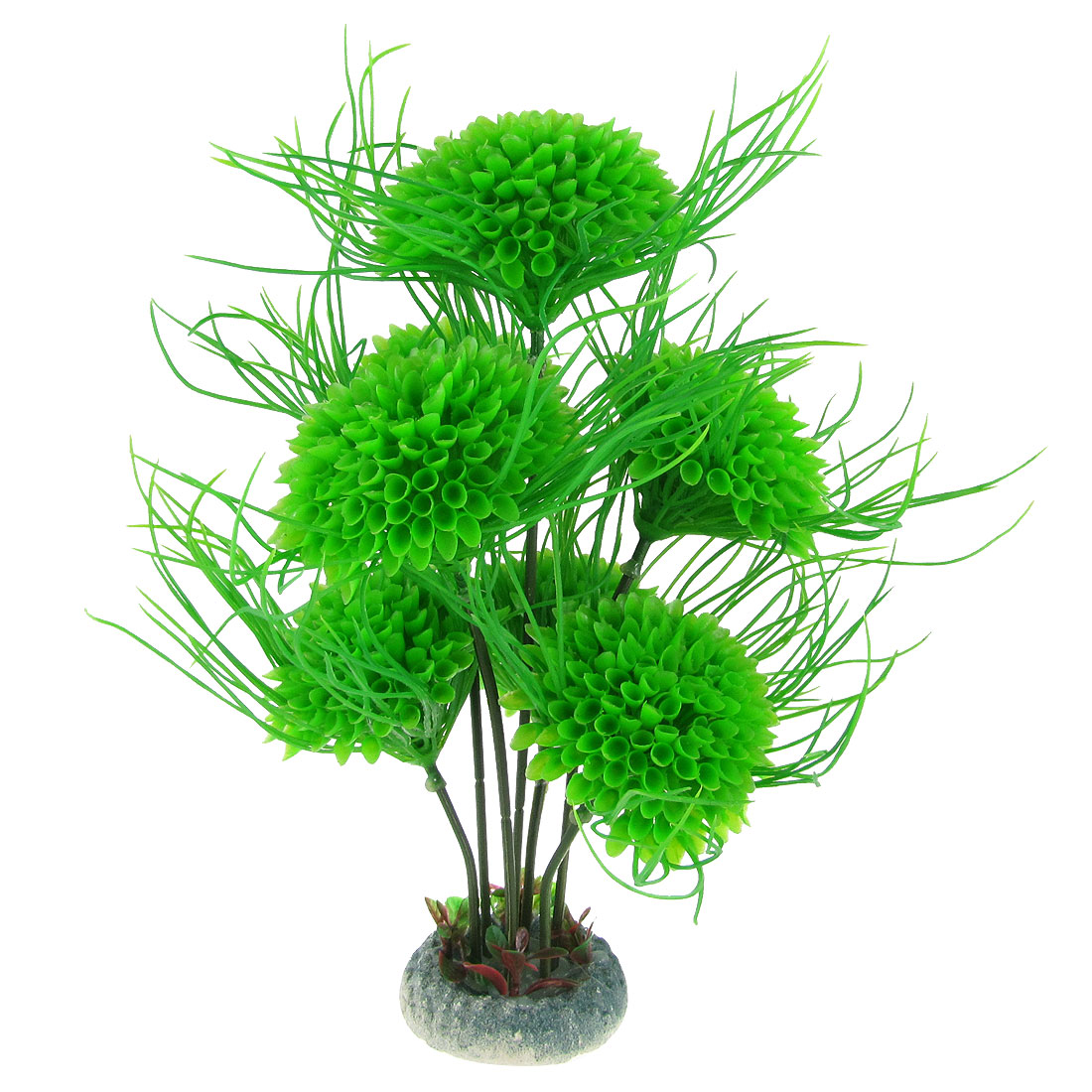 "10.6"" High Fish Tank Green Plastic 7 Flower Balls Plant Decor Aquascaping w Round Base"