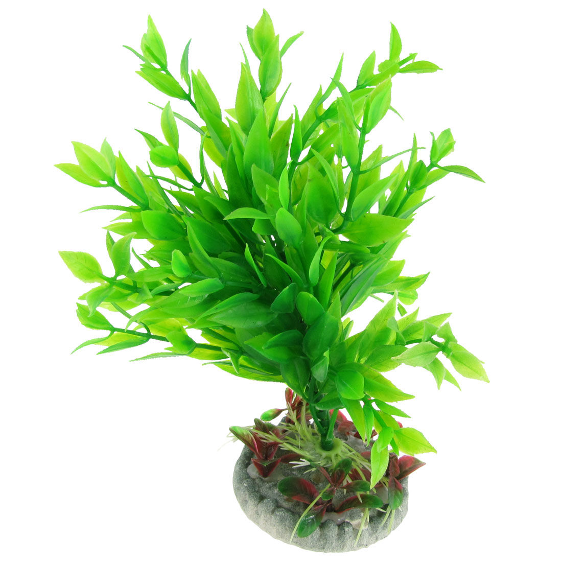 "Plastic Green Leaves Round Ceramic Base Emulational Plants Underwater Grass 7.5"" for Aquarium"