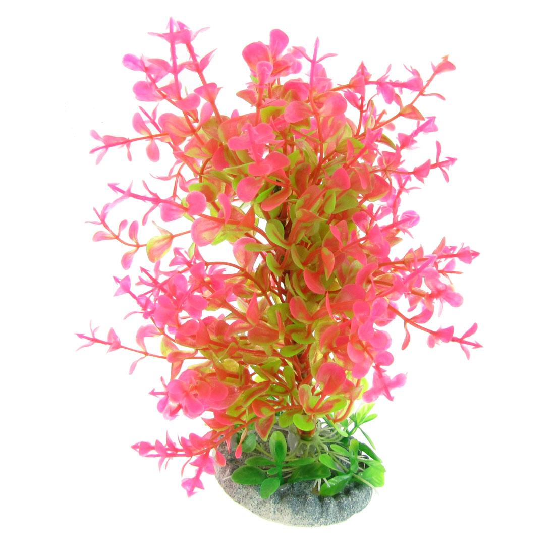 "7"" High Aquarium Fish Tank Emulational Plastic Plants Grass Decor Green Magenta"