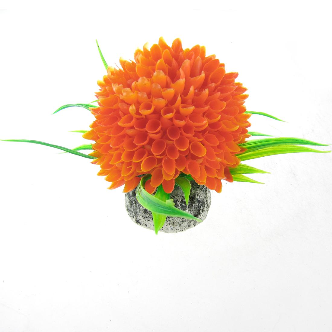 Orange Green Ball-flower Plastic Plant for Aquarium Tank