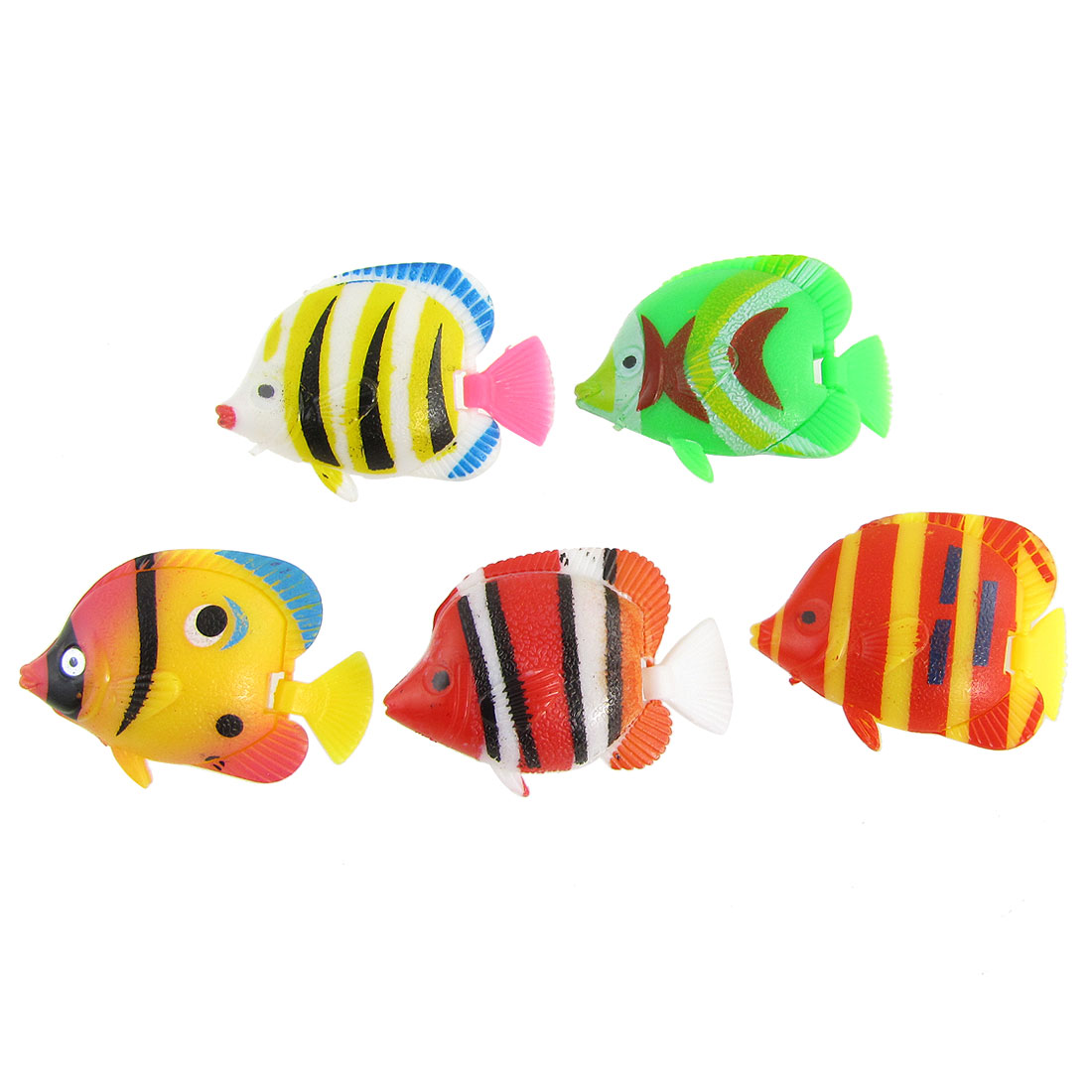 5 Pcs Simulated Multicolor Plastic Tropical Fishes Ornament for Fish Tank