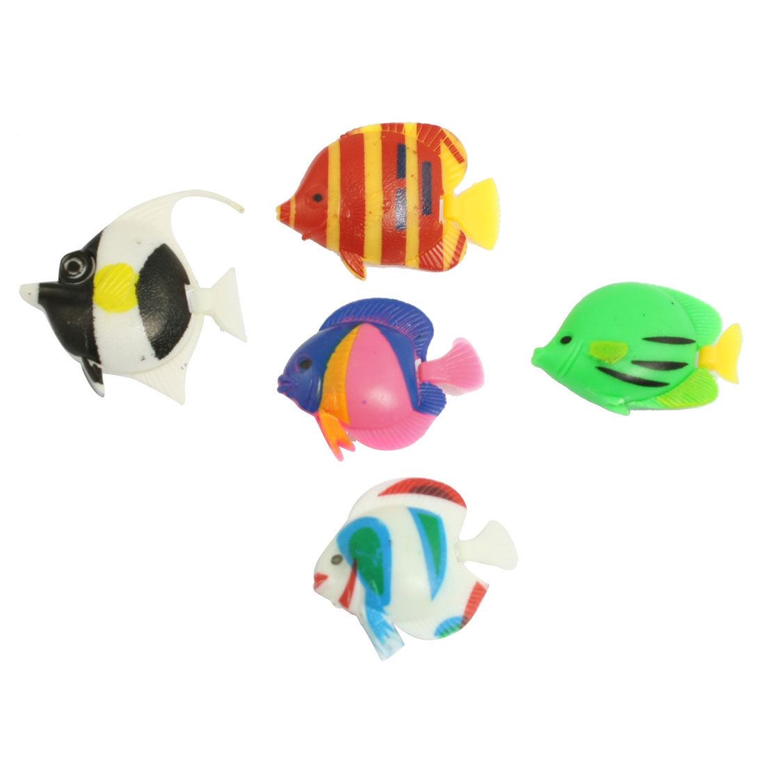 Aquarium Decoration Multicolor Floating Plastic Fish 5 Pcs