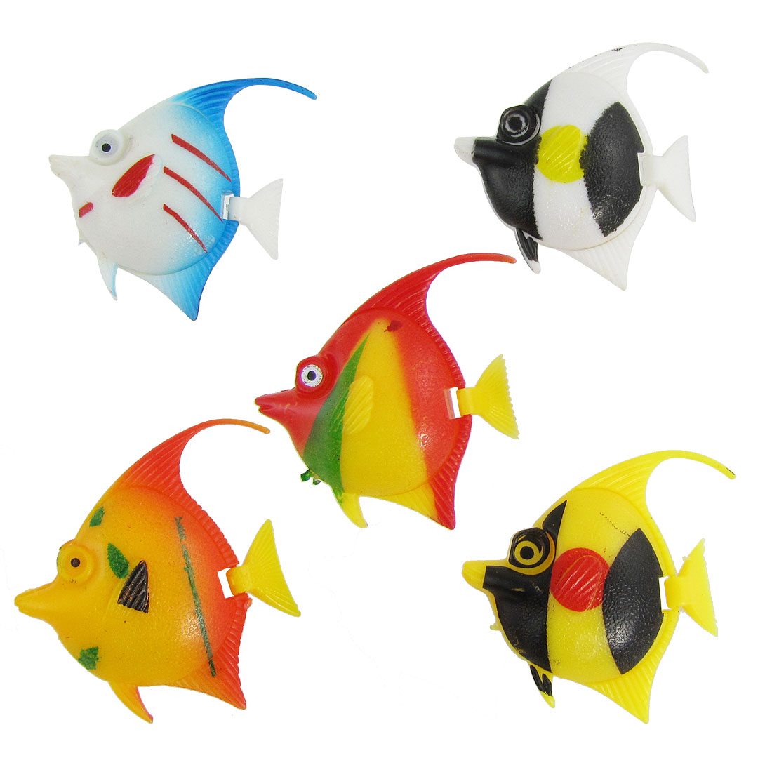 5 Pcs Multicolor Plastic Swing Tail Tropical Fish Aquarium Ornament Decoration