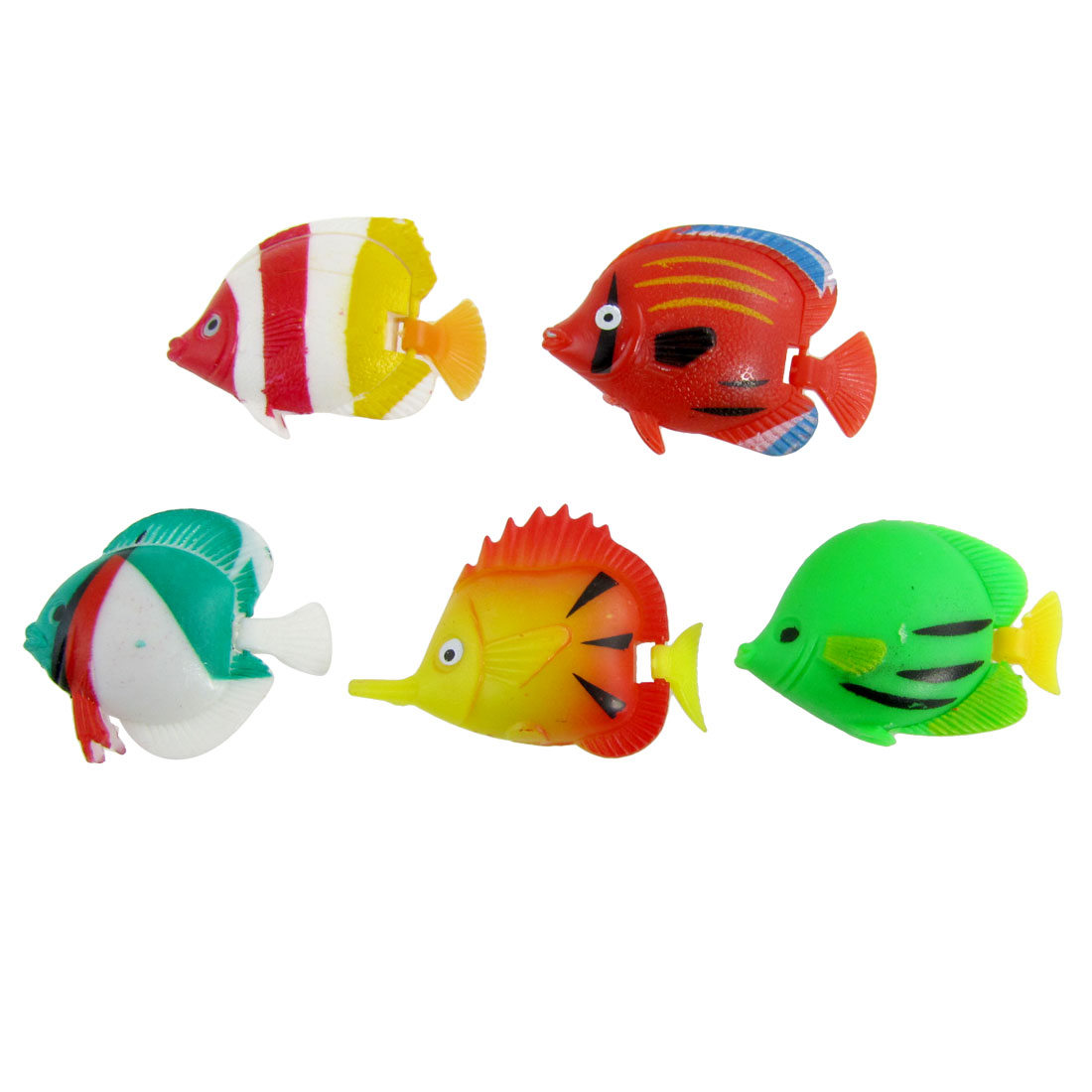 5 Pcs Colored Plastic Swing Tail Tropical Fish Tank Aquarium Ornament Decor