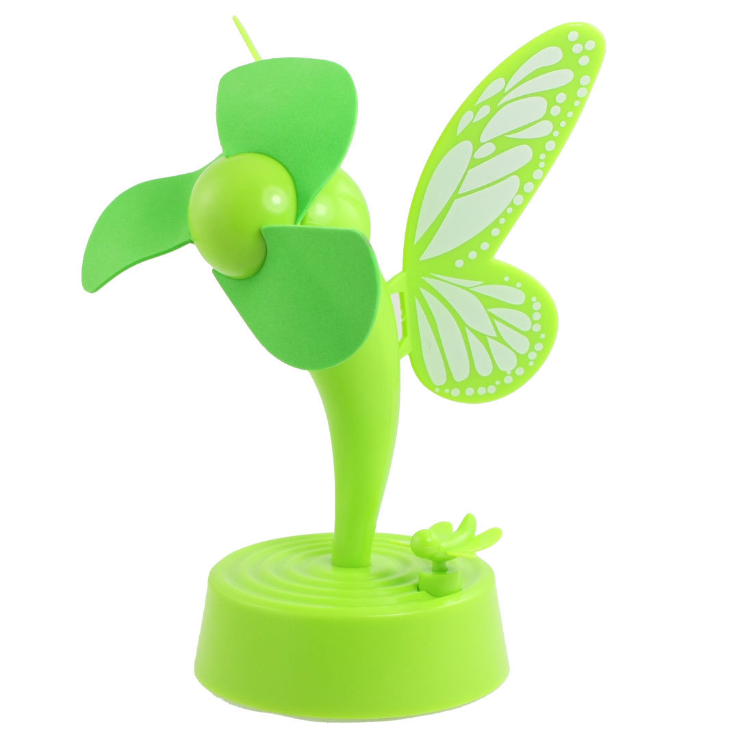 Dragonfly Button Butterfly Wing Decor Green Foam Blade USB Fan