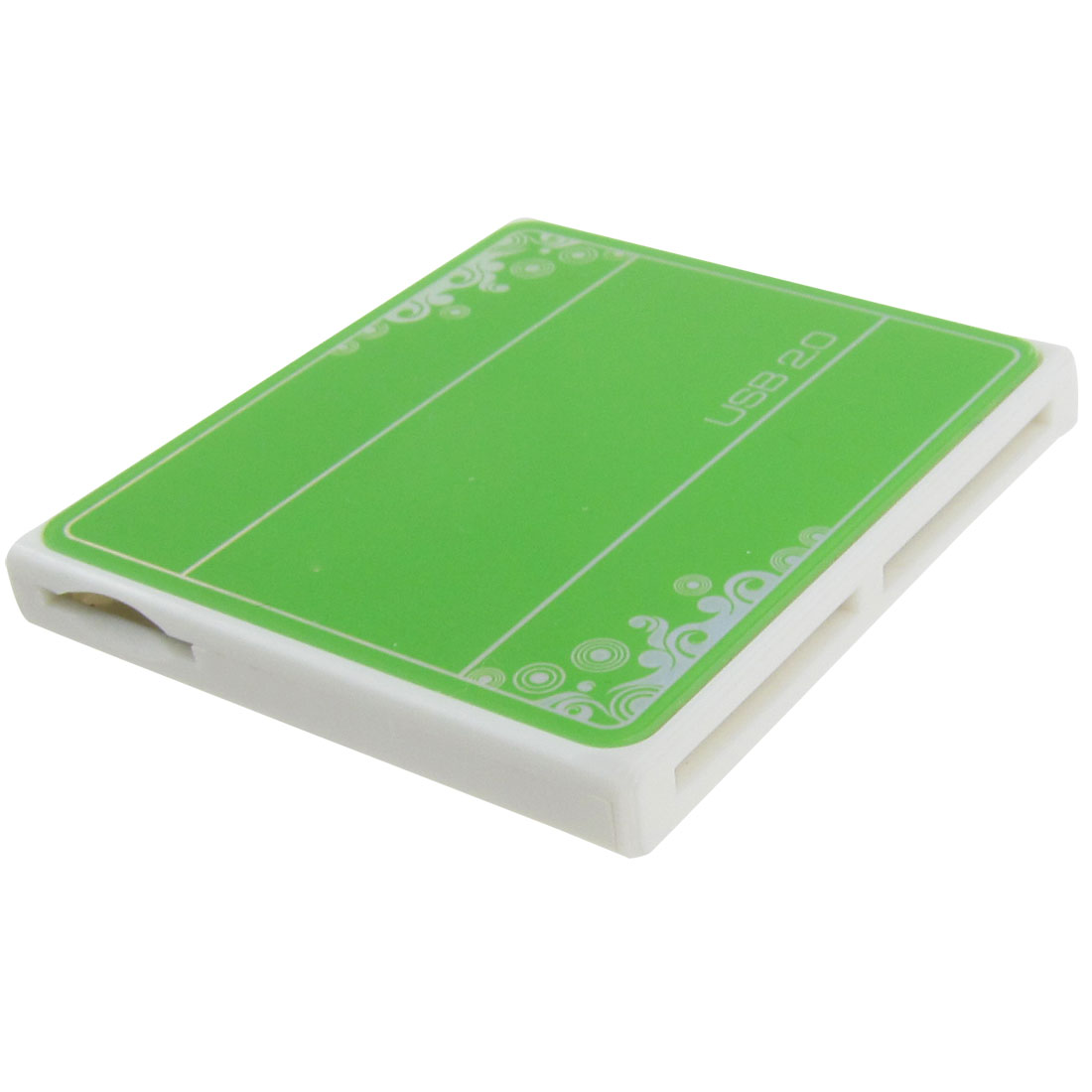 Green Plastic Case USB 2.0 4 Slots SD MMC M2 T-flash MS Card Reader