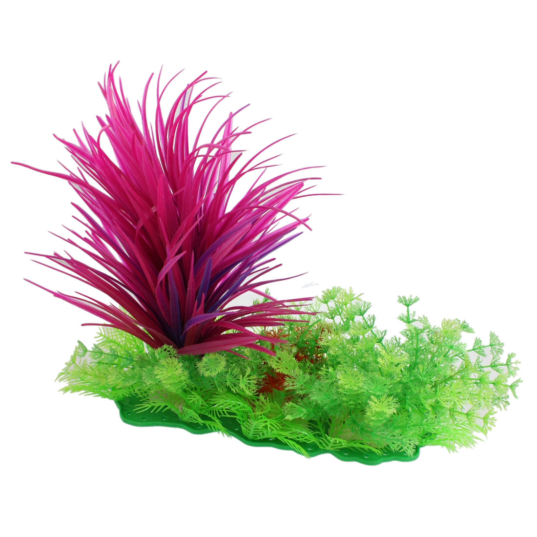"Aquarium Plastic Fuchsia Long Plants Green Snowflake Grass Decor 11.4"" High"