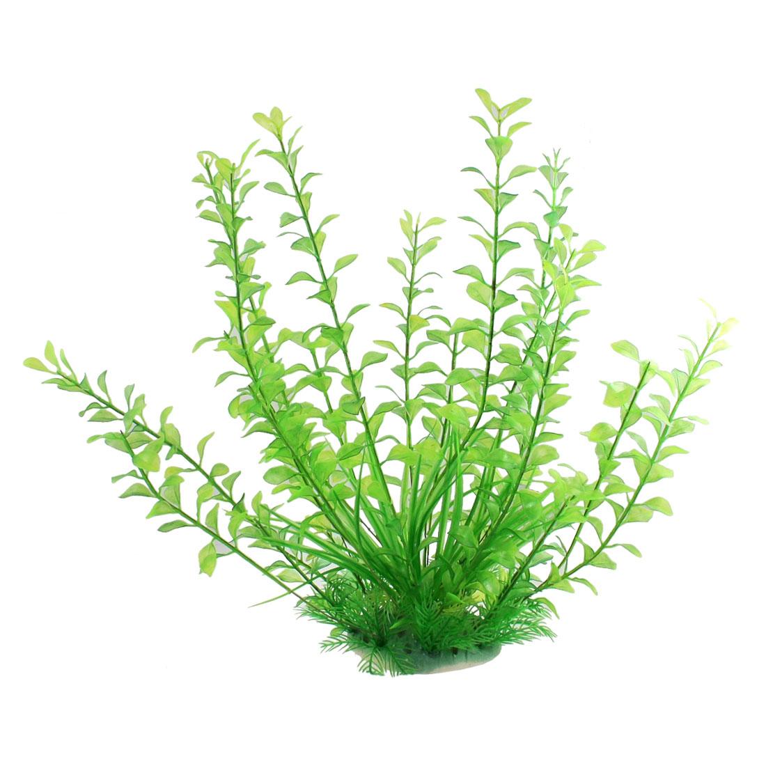"Aquarium Plastic Oval Leaves Green Underwater Plants Decor 14.5"" High"