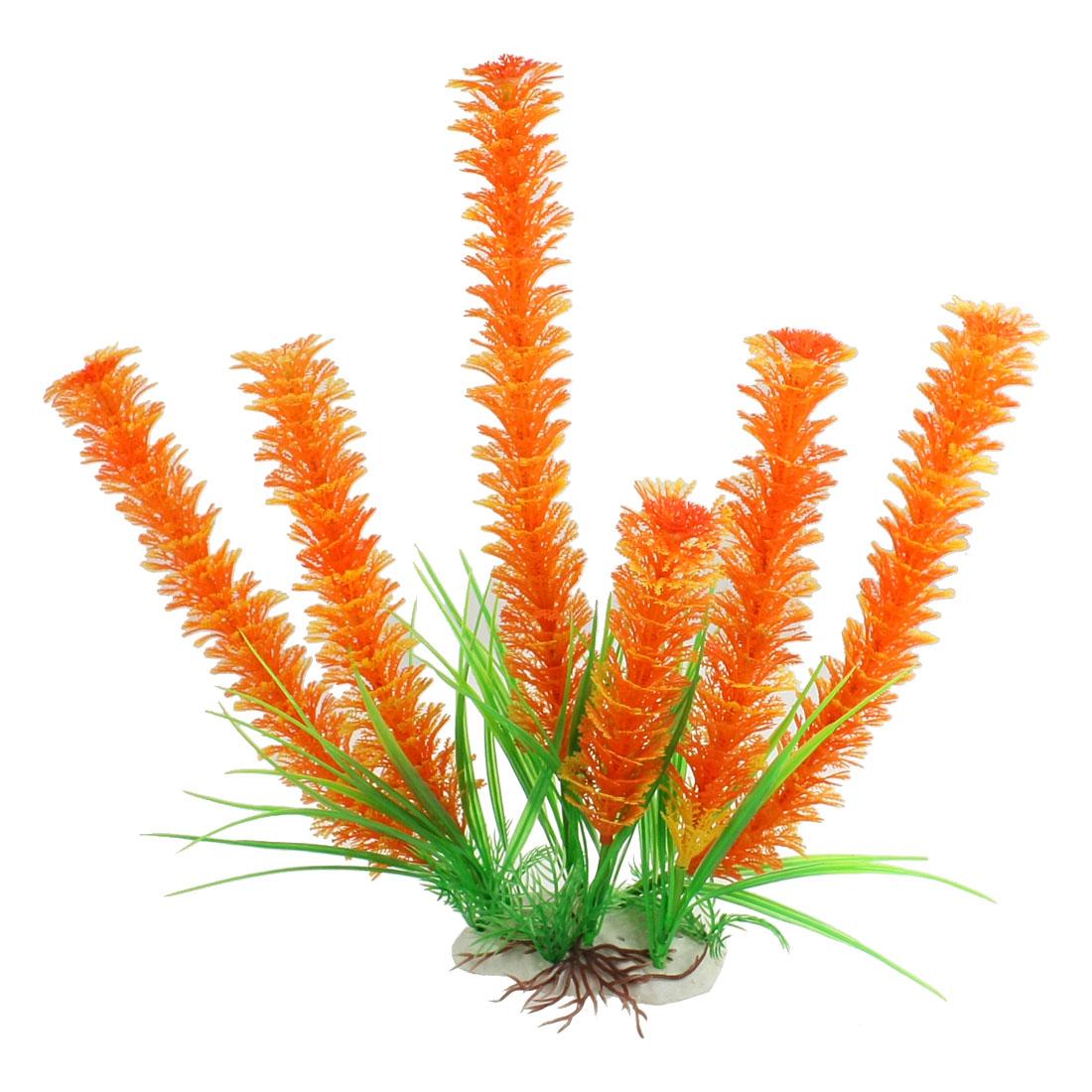 """13.4"""" High Orange Green Artifical Aquatic Plants Ornament for Aquarium"""