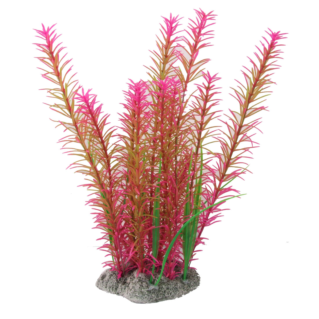 Aquarium Fuchsia Green Needle Shaped Leaf Ariticial Plastic Plants