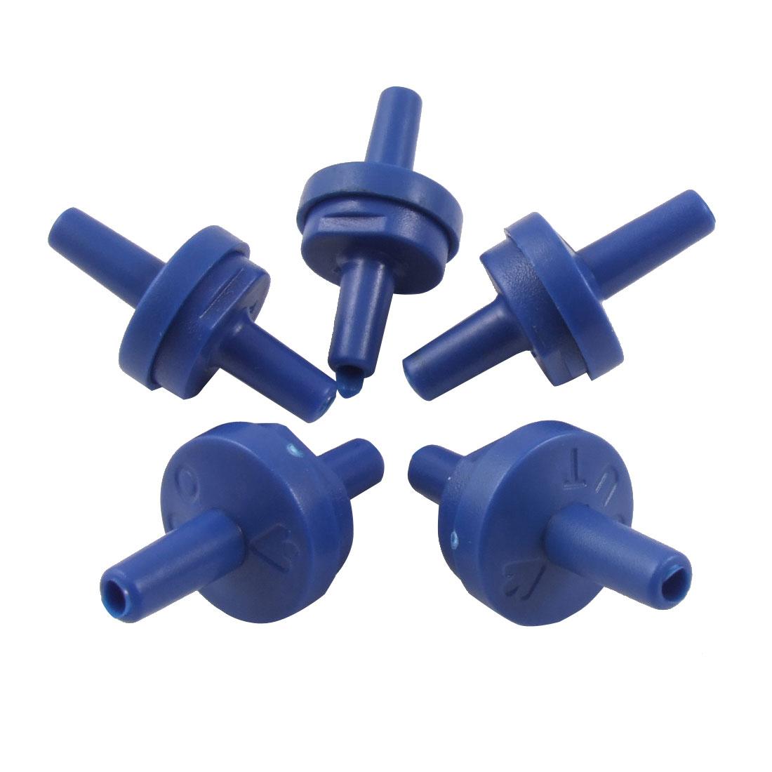 5 Pcs Blue Plastic Air Pump Outlet Check Valves for Aquarium Tank