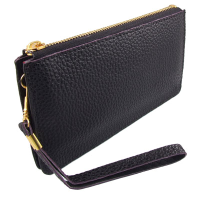 Women Black Faux Leather 3 Compartments Zippered Wallet Purse Wristlet
